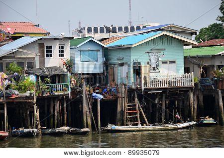 Riverside Slums & Fishermen Life In Chao Phraya River