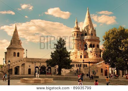 Budapest - June 27: View To Fisherman's Bastion, The Terrace In Neo-gothic And Neo-romanesque Style