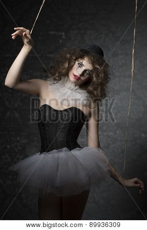 Woman Like Gothic Puppet Clown