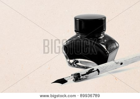 Antique pen and ink pot