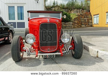 Classic Ford In Red