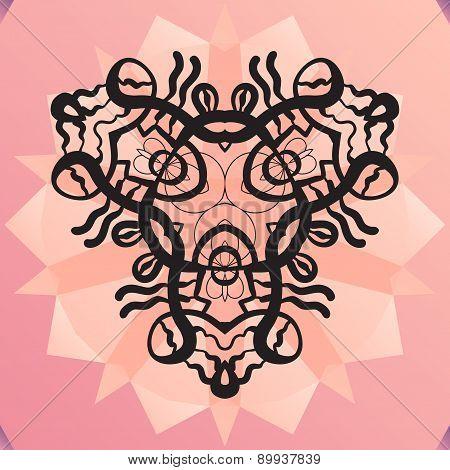 Stylized kaleidoscope medallion, yoga, india, arabic style design