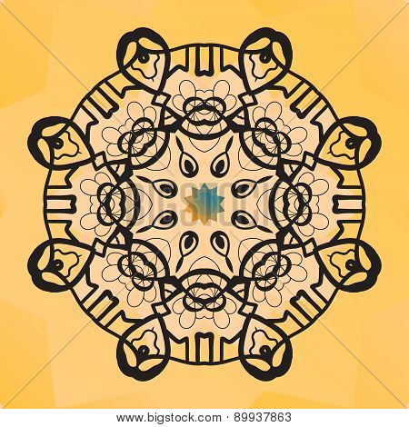 Stylized round lace design. Indian mandala arabic motif