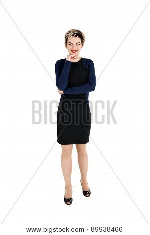 Full Body Of Cheerful Beautiful Business Woman
