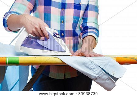 Woman Ironed Men's Shirt