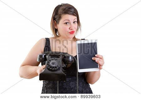 Charismatic Woman Comparing Old And Modern Devices