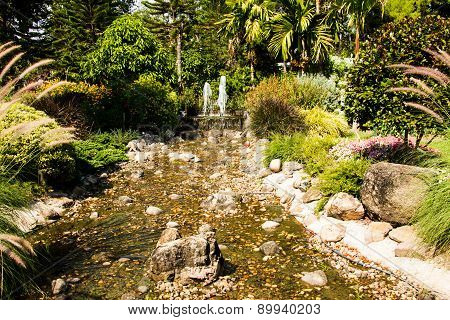 Fountain In Garden Design.