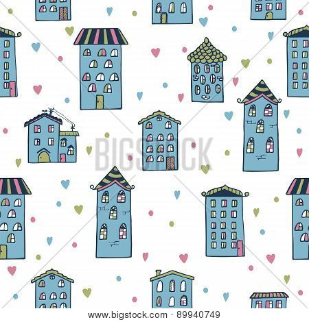 Cute Seamless Background With Houses. Home Sweet Home