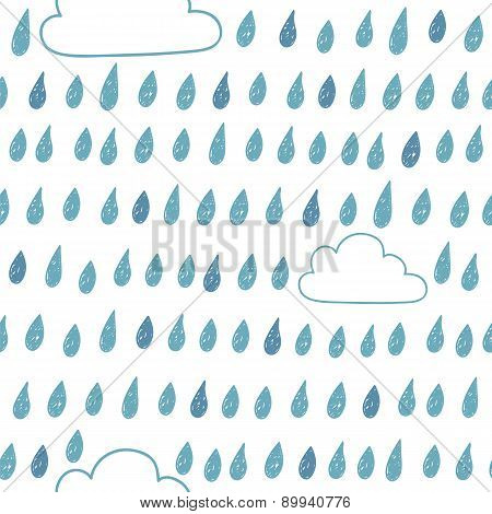 Cute Seamless Pattern With Clouds And Raindrops