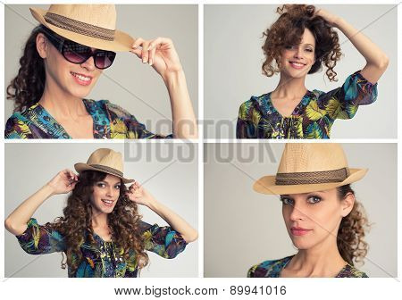 Stylish Woman Collage, Retro Styling
