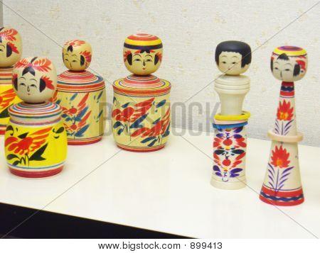 Traditional Japanese Kokeshi Dolls