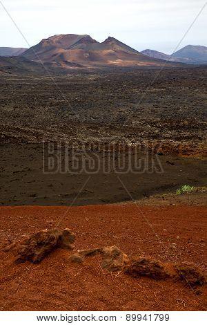 Volcanic Timanfaya  Red Rock Stone  Lanzarote Spain