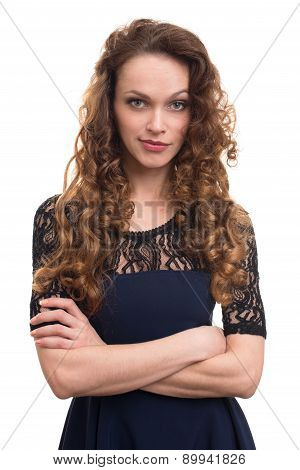 Young Beautiful Woman With Curly Hair
