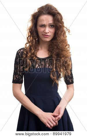Confused Woman With Curly Hair