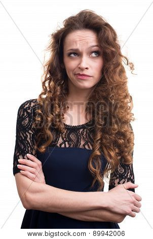 Woman With Beauty Long Curly Hair Thinking