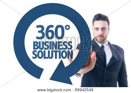 Business man pointing the text: 360 Business Solution