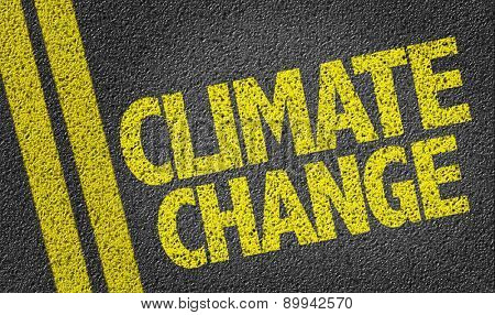 Climate Change written on the road