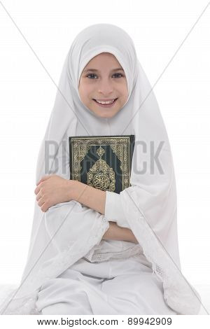 Smiling Muslim Girl Loves Holy Book Of Quran