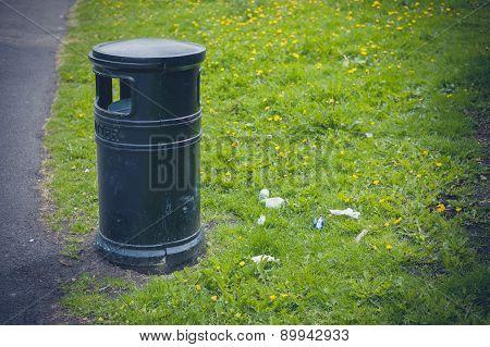 Litter Bin In A Park
