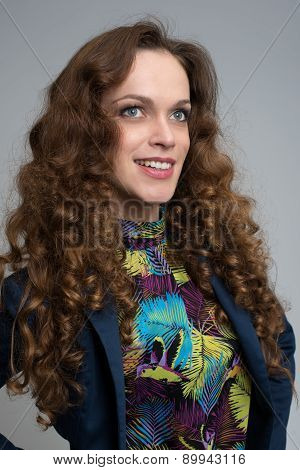 Woman With Curly Long Hair