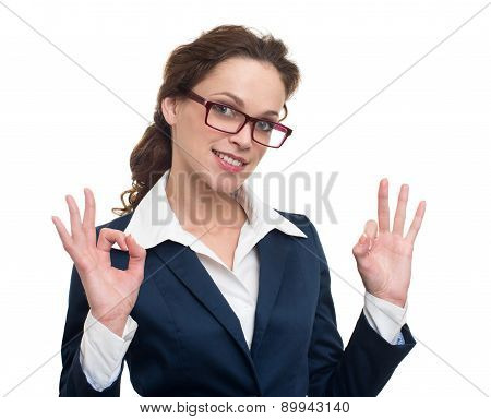 Cheerful Young Business Woman With Okay Gesture