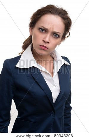Serious Young Business Woman Looking At Camera