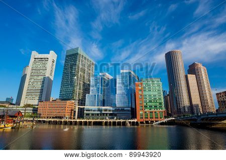 Boston Waterfront With Skyscrapers And Bridge