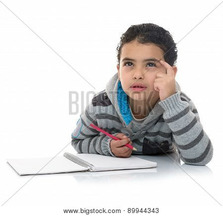 Studying Boy Thinking For Answer