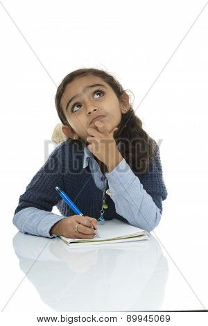 Young Schoolgirl Thinking For Answer