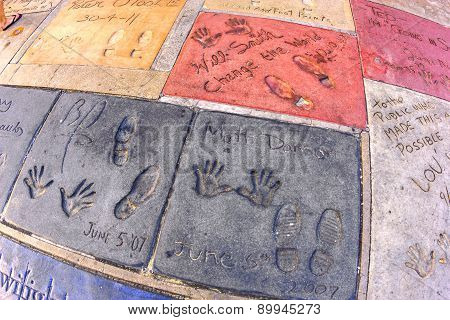 Matt Demon And Will Smiths Handprints In Hollywood Boulevard