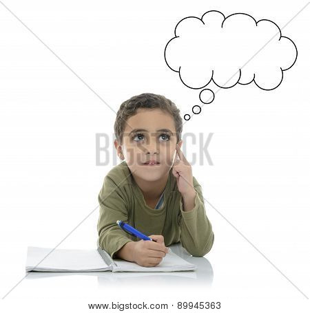 Young Schoolboy Thinking For Answer