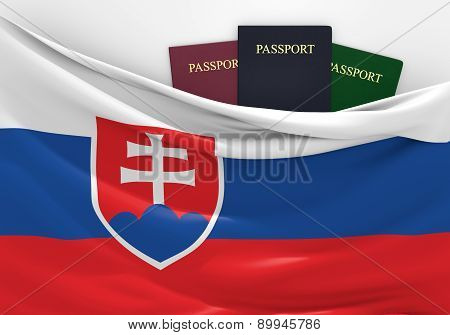 Travel and tourism in Slovakia, with assorted passports