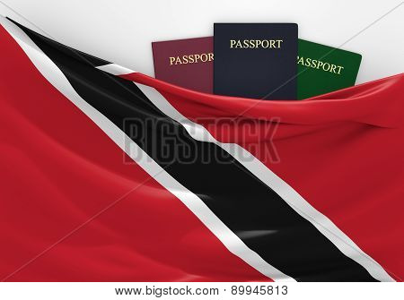 Travel and tourism in Trinidad and Tobago, with assorted passports