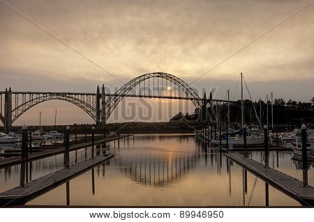 Newport, Oregon bridge at sunset.