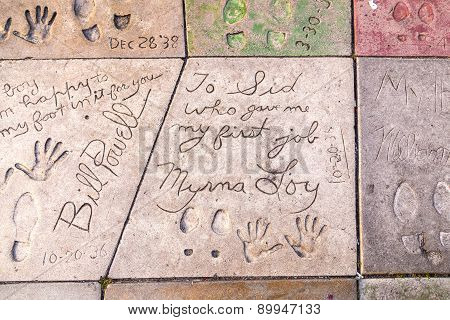 Handprints Of Bill Powell And Myrna Loy In Hollywood Boulevard In The Concrete Of Chinese Theatre's