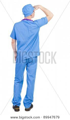 Back view of doctor in robe. Standing young guy. Rear view people collection.  backside view of person.  Isolated over white background. Paramedic is putting his hand to the face