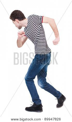 Back view of running man in brown shirt. Walking guy in motion. Rear view people collection. Backside view of person. Isolated over white background. The guy in the sailor suit dancing.