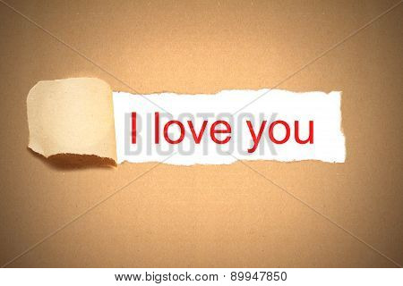 Brown Paper Envelope Torn To Reveal I Love You