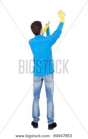 Back view of a cleaner man in gloves with sponge and detergent. girl  watching. Rear view people collection.  backside view of person.  Isolated over white background. something guy washes over him.