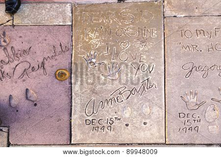 Handprints  Of Anne Baxter In Hollywood Boulevard In The Concrete Of Chinese Theatre's Forecourt