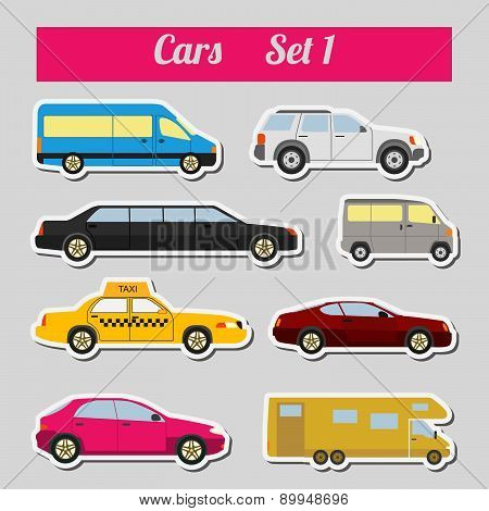 Set of elements passenger cars for creating your own infographics or maps