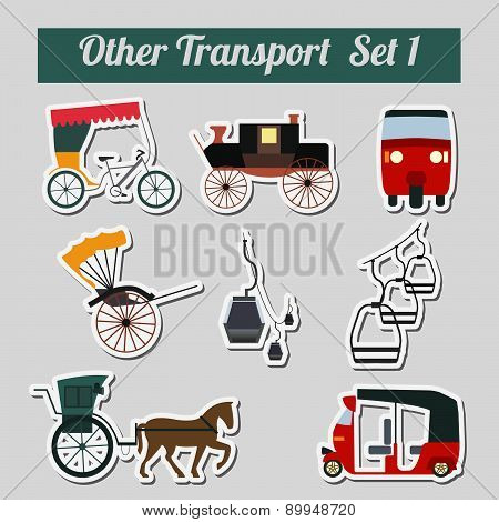 Set of ground transportation, rickshaw, cableway  for creating your own infographics or maps