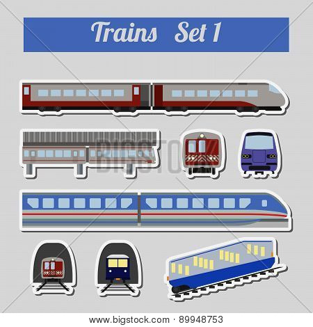 Train icon set. Subway, monorail, funicular transport