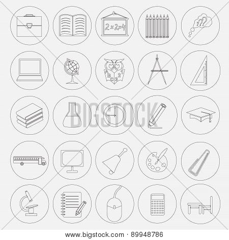 Outline icon set Education and school. Flat linear design