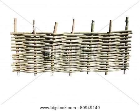 Woven Wooden Fence At Ranch Isolated On White Background