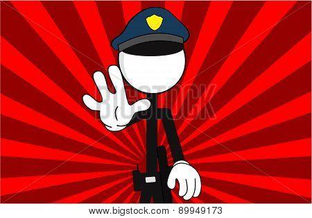 police man pictogram stop background