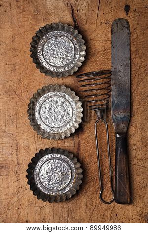 abstract picture with Vintage  Baking utensils backdrop