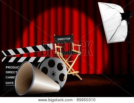 Film Reel With Megaphone And Director Chair