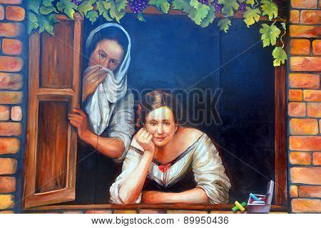 Mural italien women