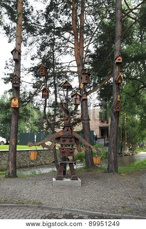 Composition of birdhouses in the Altai-West